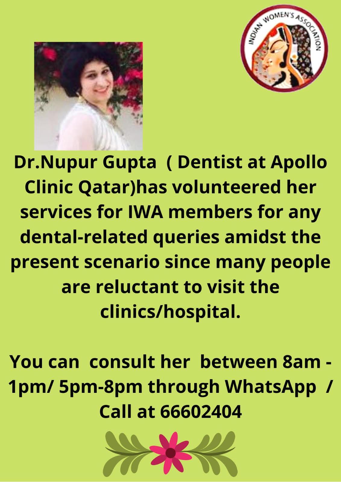 Dr.Nupur Gupta's (Dentist) Volunteered her Services for IWA Members
